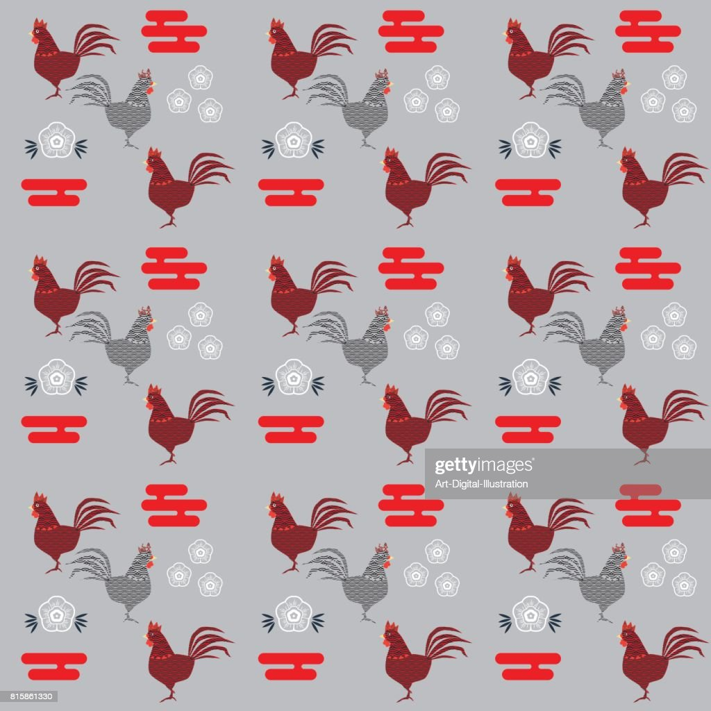 Rooster Chinese New Year seamless pattern