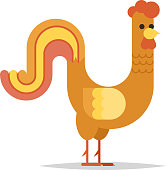 Rooster Cock -a-doodle-doo Character New Year Icon Isolated