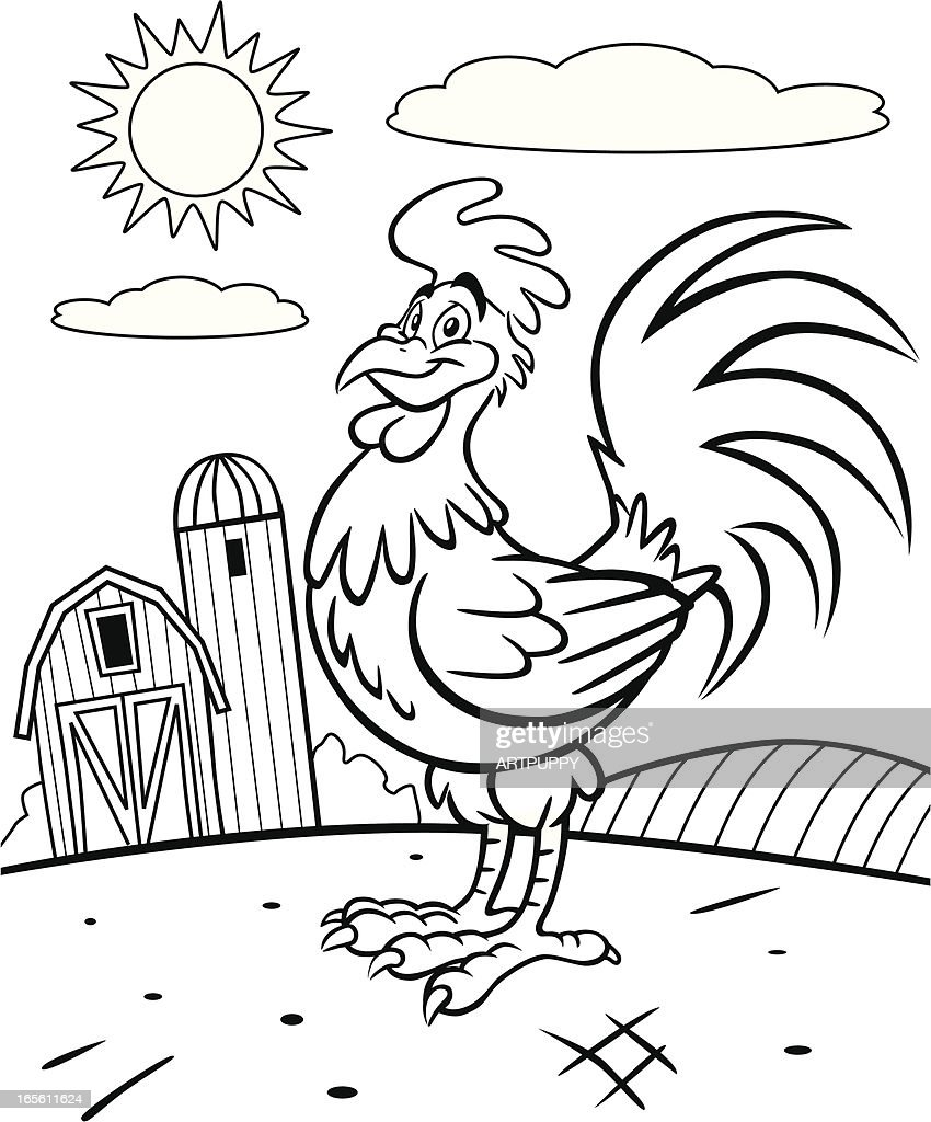 Rooster Coloring Book Page