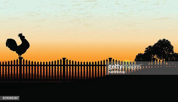 rooster crowing at sunrise background - cockerel stock illustrations, clip art, cartoons, & icons