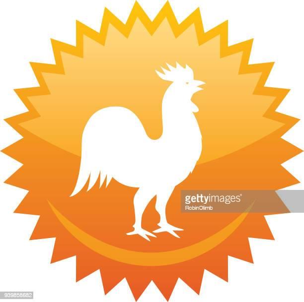 rooster emblem - one animal stock illustrations