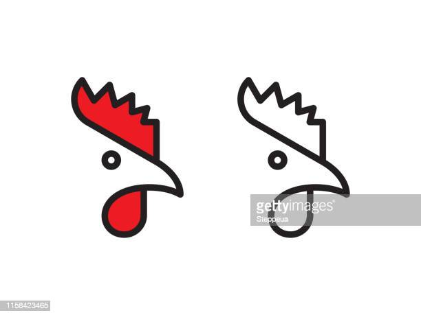 rooster logo - male animal stock illustrations
