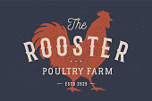 Rooster, poultry. Vintage label, retro print, poster for Butchery