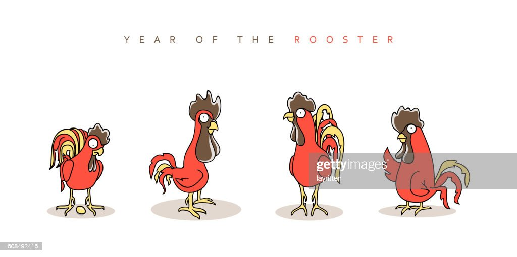 Rooster Red Chinese New Year Symbol 2017 Vectorkunst Getty Images