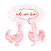 Rooster red emoji icon. Cock a doodle doo calligraphy writing in speech bubble. Hipster design with roosters. Hand drawing morning roosters birds on white background. Vector
