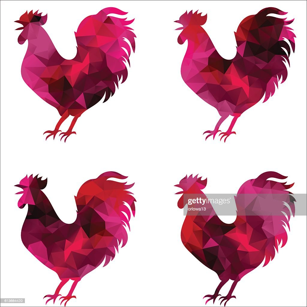 Rooster, triangular geometric polygonal roosters, isolated illustration of cock on