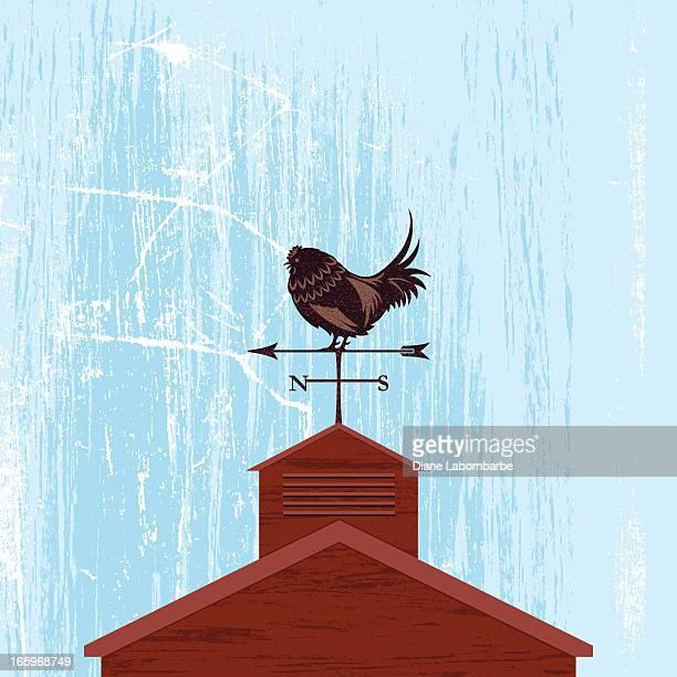illustrations, cliparts, dessins animés et icônes de de girouette coq ferme toit illustration - girouette