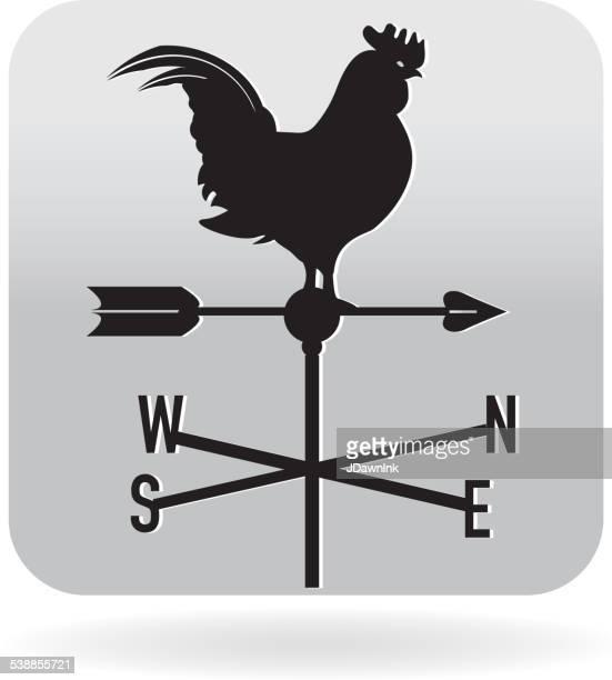 illustrations, cliparts, dessins animés et icônes de coq icône weathervane - girouette