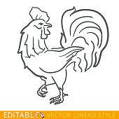 Rooster zodiac sign. Cock Chinese year. Calendar 2029. Editable line sketch icon. Stock vector illustration.