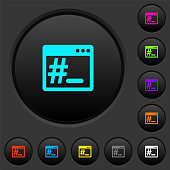Root terminal dark push buttons with color icons