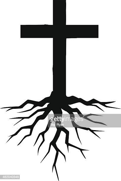 rooted cross - cross shape stock illustrations, clip art, cartoons, & icons