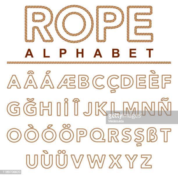 stockillustraties, clipart, cartoons en iconen met touw alfabet sailor - niet westers schrift