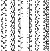 Rope cable weaving, knot twisted braid, macrame crochet weaving, braid knot, vector knitted braided pattern intersecting strands wicker, set