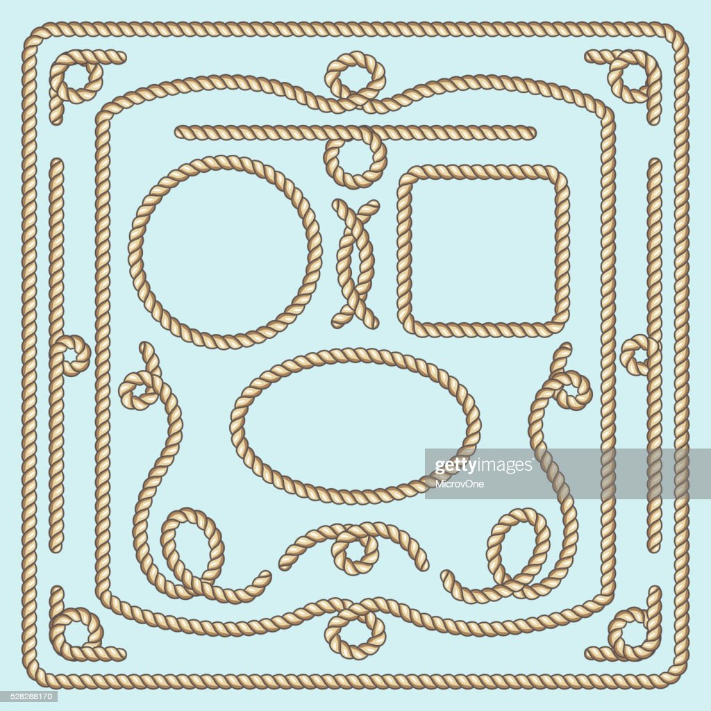 Rope frame, knots and corners. Vector decorative elements