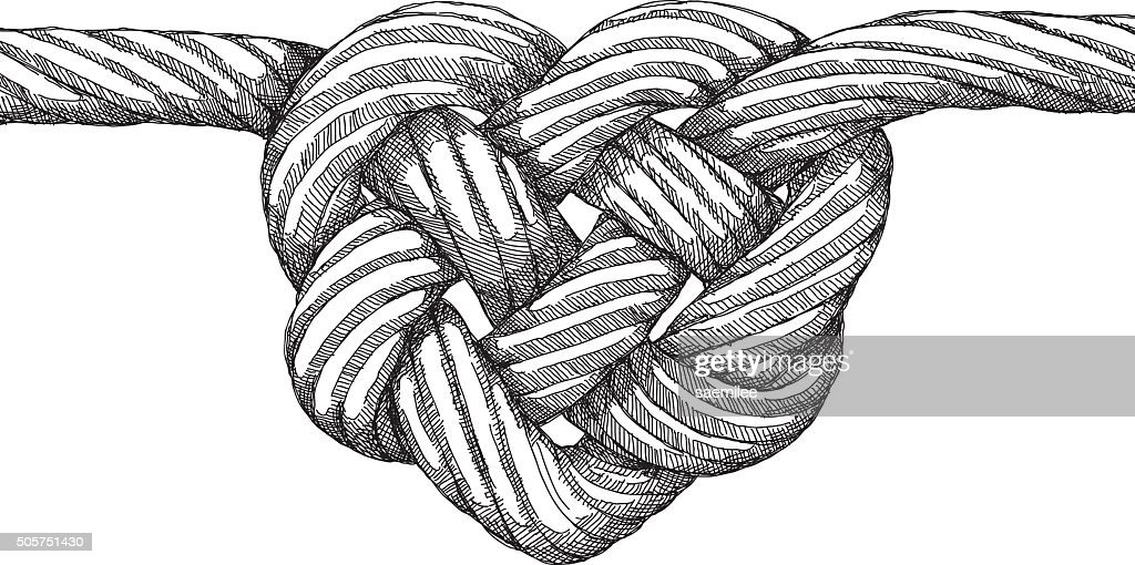 rope heart knot vector art