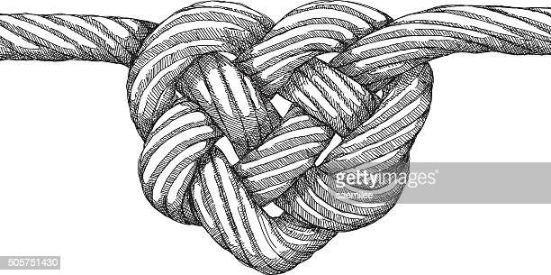 rope heart knot - rope stock illustrations