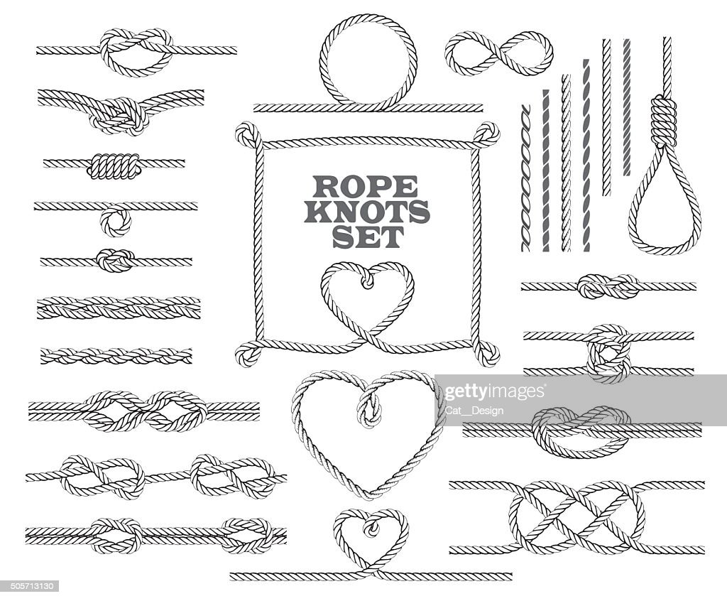 Rope knots collection. Seamless decorative elements. Vector illustration.