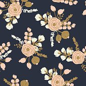 Rosa Blush Noisette. Hand drawn seamless modern floral pattern