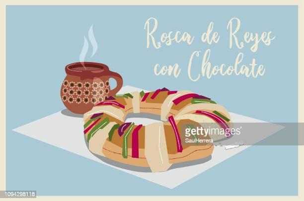 illustrations, cliparts, dessins animés et icônes de mexique rosca de reyes - galette des rois