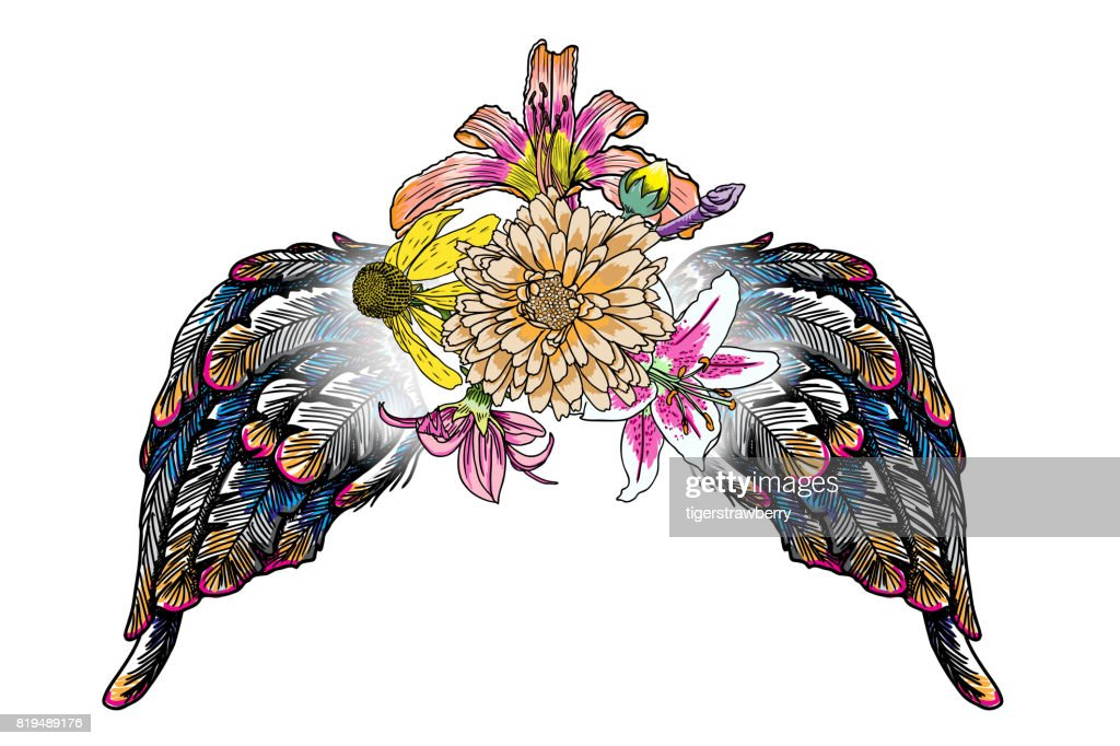 Rose and flowers with Leaves wings girl fashion patch or badge for T-shirt apparels print tee graphic blackwork design. Girly and feminine sticker or pin in flash tattoo black work style. Vector.