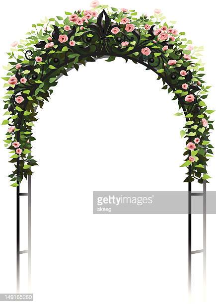 rose arbor - architectural feature stock illustrations, clip art, cartoons, & icons