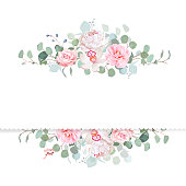Rose, camellia, orchid, peony, silver dollar eucalyptus vector d