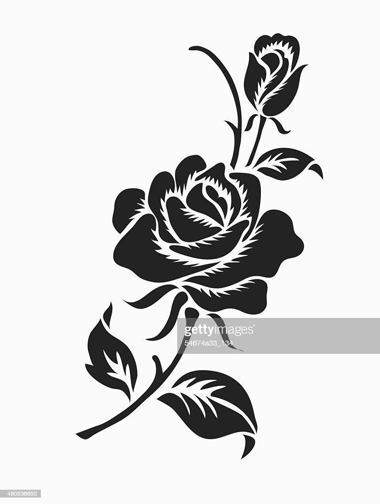 Rose design sketch for pattern.