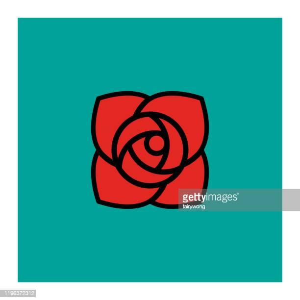 illustrations, cliparts, dessins animés et icônes de icône de fleur de rose - bouquet de fleurs