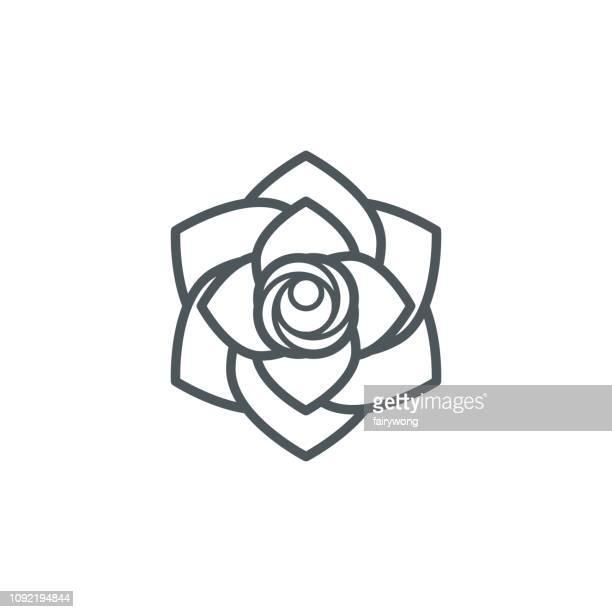 rose blume-übersicht-symbol - schöne natur stock-grafiken, -clipart, -cartoons und -symbole