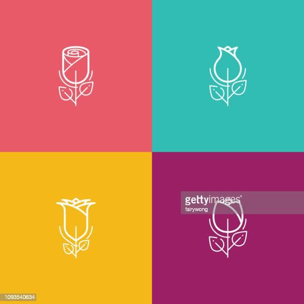 illustrations, cliparts, dessins animés et icônes de icône de contour fleur rose - bouquet de fleurs