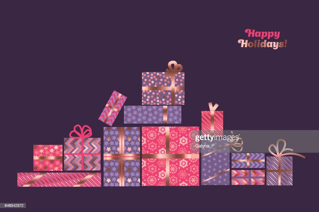 rose gold color abstract xmas paking vector illustration. elegant christmas celebration boxes design for card, invutation, greetings