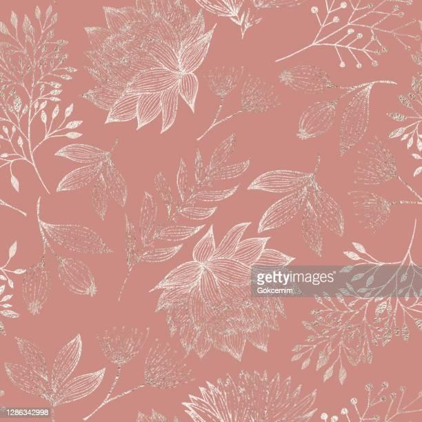手描きの葉、ブローゾムと枝とローズゴールド色の花のシームレスなパターン。クリスマスと新年グリーティングカードの背景テンプレート、クリスマスプレゼント包装紙。 誕生日、新年、 - ローズゴールド点のイラスト素材/クリップアート素材/マンガ素材/アイコン素材