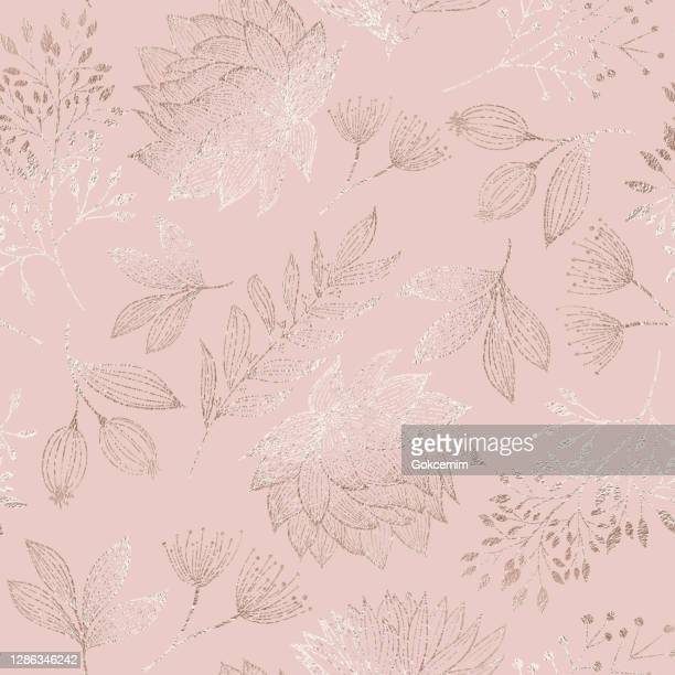 rose gold colored floral seamless pattern with hand drawn leaves, bloosoms and branches. christmas and new year greeting card background template, christmas present wrapping paper.  rose gold foil vector design element for birthday, new year, christmas ca - rose gold stock illustrations