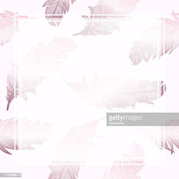 白いフレームとローズゴールドの羽の背景。グリーティングカードや結婚式、誕生日、その他の休日や夏の招待状の背景のためのデザイン要素。 - ローズゴールド点のイラスト素材/クリップアート素材/マンガ素材/アイコン素材