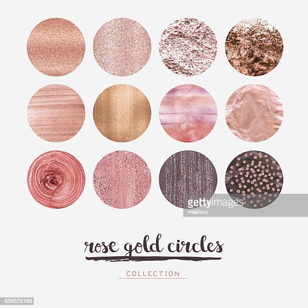 rose gold glitter circles - rosa stock-grafiken, -clipart, -cartoons und -symbole
