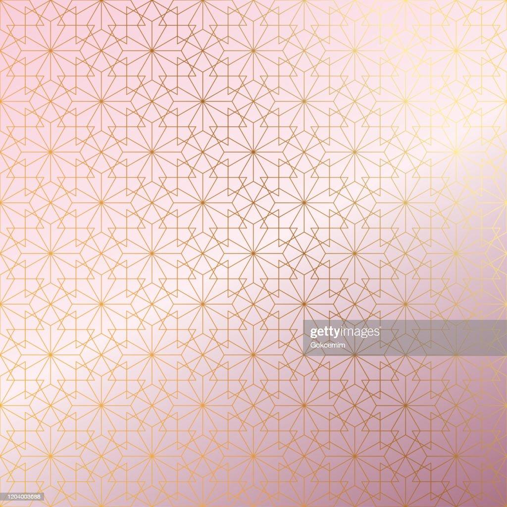 ローズゴールドイスラムパターン抽象的な背景。 : ストックイラストレーション