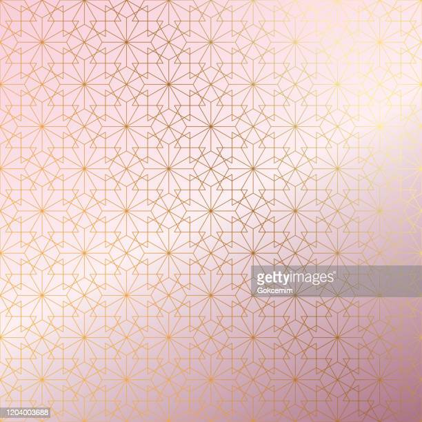 illustrations, cliparts, dessins animés et icônes de rose gold islamic pattern résumé contexte. - religion