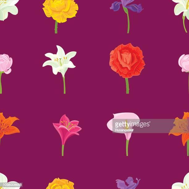 Rose, Iris, White lily, Ranunculus, Calla Lily. Floral Seamless Pattern