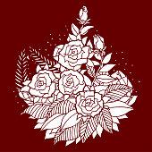rose mandala icon symbol icon, flower floral leaf, vector hand drawn, illustration design concept sign