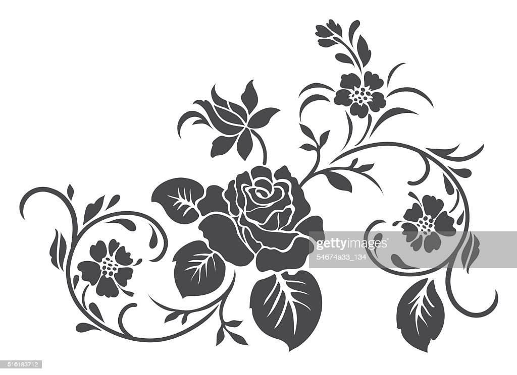 Rose motif vector for design.