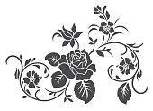 Rose motif vector for design.