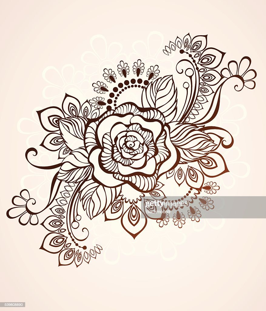 Rose Painted With Henna Vector Art Getty Images