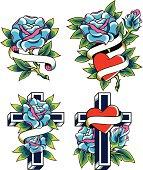 rose religion tattoo design