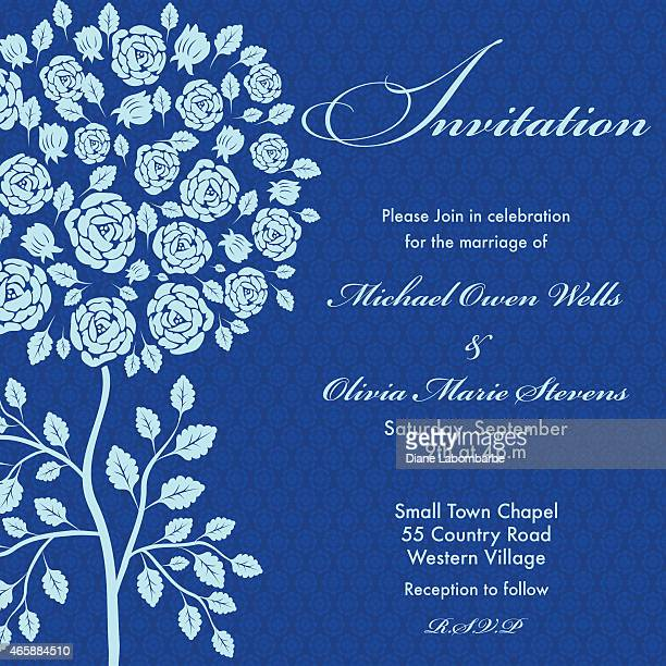 Rose Tree Wedding Invitation Blue on Navy Background