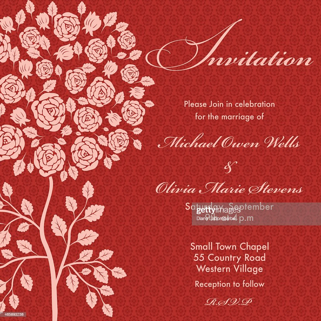 Rose Tree Wedding Invitation Pink On Red Background Vector Art ...