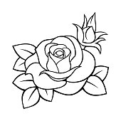 Rose. Vector black and white contour drawing.