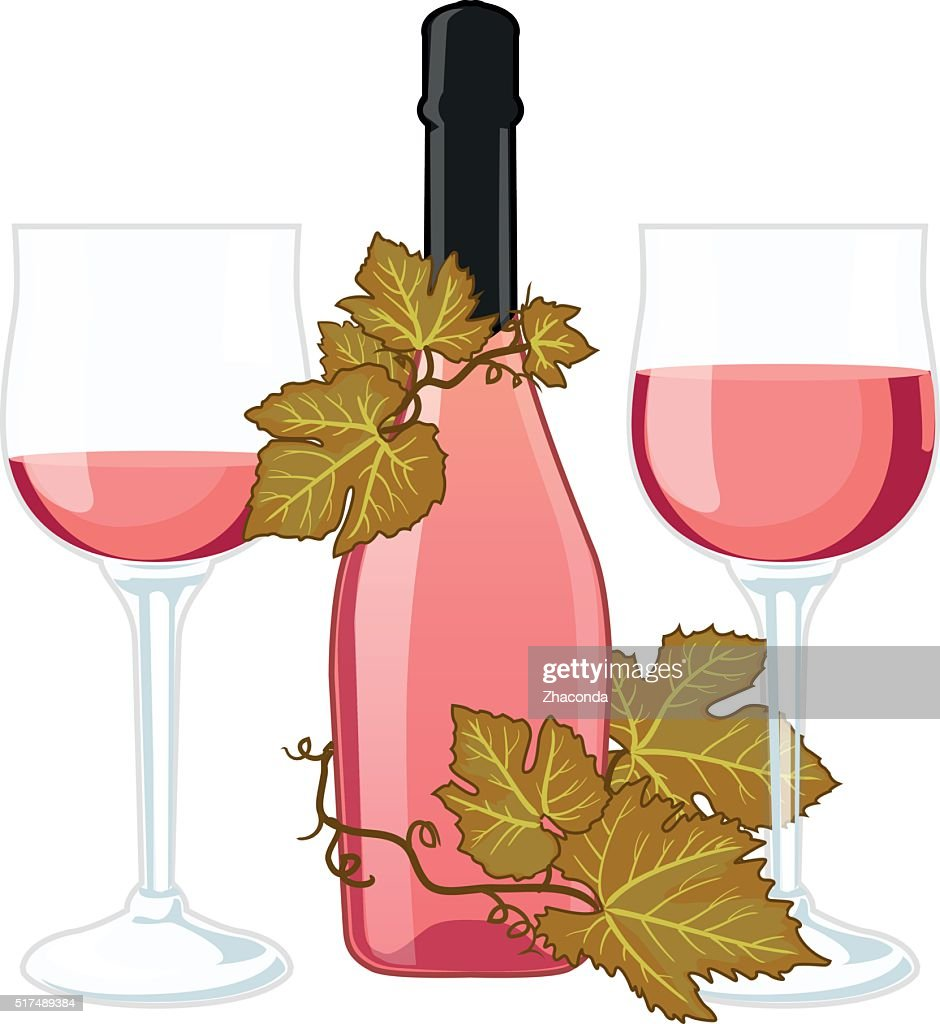 Rose wine bottle with two filled glasses