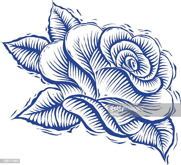 rose woodcut - woodcut stock illustrations