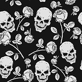 Roses and Skulls Seamless Pattern