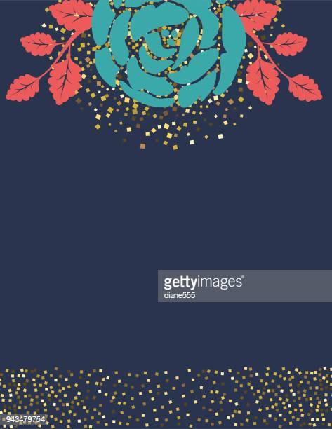 ilustraciones, imágenes clip art, dibujos animados e iconos de stock de fondo de rosas con glitter decoraciones - azul marino